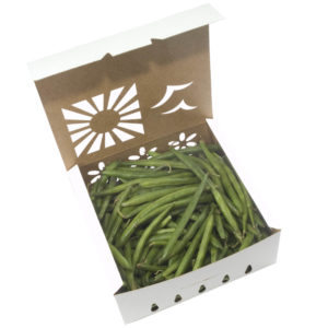 Organic green beans in new compostable, biodegradable sustainable produce container